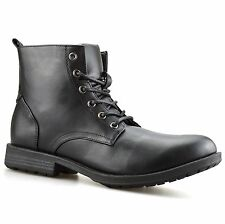 Mens Combat Smart Work Lace Up Ankle Cowboy Military Army Biker Boots Shoes Size