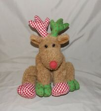 """Ty Classic Chestnuts Red Green Reindeer 10"""" Floppy Stuffed beanbag Plush 2006"""