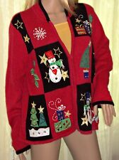Tiara Ugly Christmas Sweater Red Large Tacky Cardigan Snowman Holiday Tree Party