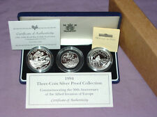 1994 ROYAL MINT D-DAY THREE-COIN SILVER PROOF COLLECTION - UK, FRANCE & USA
