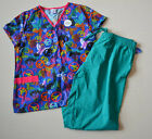 Womens NEW 2X Scrub Set Outfit 3 Pocket Pattern Shirt 2 Pocket Solid Color Pants