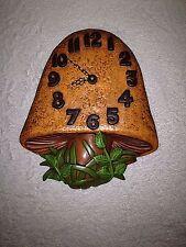 VTG Arnels Ceramic Mushroom Wall Clock 1974 Retro Wall Decor Signed Merry Trippy