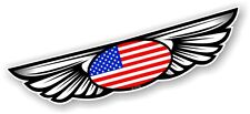 Winged Wing Emblem & American US USA Flag for Motorcycle Helmet Car sticker