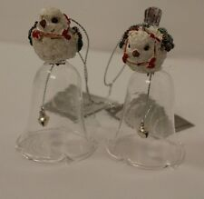 Christmas Bauble Tree Decoration -2 Hanging White Bird on Glass Bell ornaments