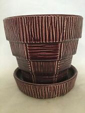 "VINTAGE McCOY 4"" PURPLE BASKETWEAVE FLOWER POT PLANTER - MID CENTURY - HTF COLOR"