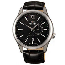 Orient Men's 43mm Automatic Black Calfskin Stainless Steel Case Watch FES00005B0