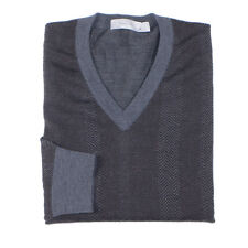 Ermenegildo Zegna Mens Size L Gray Cashmere / Wool V-Neck Sweater Made in Italy