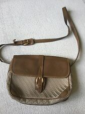 Gucci Handbag Shoulder Bag Vtg Logo Gg  Brown Canvas Leather M L