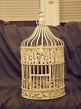 "Shabby Chic Round White Ivory  Metal Bird Cage 18"" Tall w Perch & Hanger"