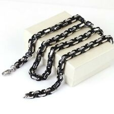 """Fashion Black & Silver Tone Byzantine Chain Stainless Steel Men's Necklace 21.6"""""""