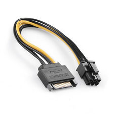 """8"""" Inch (20cm) 15-pin SATA Male to 6-pin PCI-E PCI Express Power Adapter Cable"""