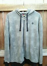 Southpole Hoodie Sweater Men's Size: L Gray Black Houndstooth Drawsting Zip-Up