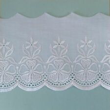 Cotton Lace for Edges ~ White on White Embroidered Flowers ~ 1 Metre