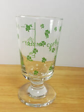 Stemmed Clear Glass with Green Shamrocks & Irish Coffee Recipe Cow Whiskey