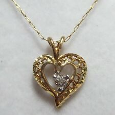 WoW 10k Yellow Gold Diamond Heart Filigree Pave Cluster Pendant Mom Necklace 16""