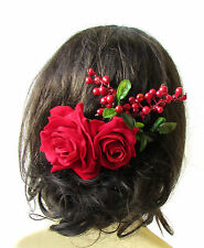Large Red Rose Berry Green Leaves Flower Hair Comb Headpiece Bridal Vintage 1490