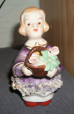 """Vintage Girl with Basket of Roses Figurine - Hand Painted in Japan - 4 3/4"""" Tall"""