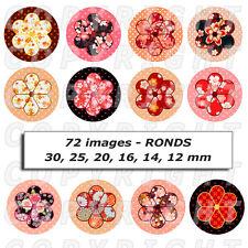 72 Images digitales pour bijoux cabochon fleurs japonaise pois rose orange RONDE