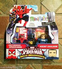 Marvel Minimates UNMASKED SPIDER-MAN & COULSON Web Warriors Animated Walgreens