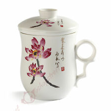 270ml New Lotus Ceramic Chinese Porcelain Tea Mug Cup with lid & Infuser Filter