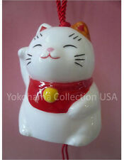 Japanese Furin Wind-Chime Maneki Neko Lucky Fortune Cat Porcelain/Made in Japan
