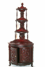 DOLLHOUSE MINIATURE WOODEN  MAHOGANY CORNER DISPLAY CABINET ..#810902