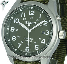 New SEIKO KINETIC MILITARY KAHKI FACE With FABRIC BUCKLE STRAP SKA725P1