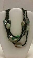 Gorgeous designer onyx and agate multi layer green stone necklace
