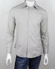 JOHN VARVATOS USA Navy Beige White & Black Striped Button Down Dress Shirt 15.5