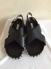 New MARC JACOBS Criss Cross Studded Black Leather Flat Sandals Shoes 39/9