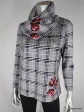 ST JOHN SPORT L Plaid Knit Cowl Neck Ladybug Detail Black White Sweater Top EUC