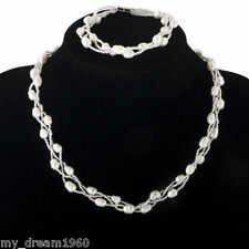 White Genuine 7-8mm Freshwater Pearls & Beads Twisted Necklace & Bracelet Set