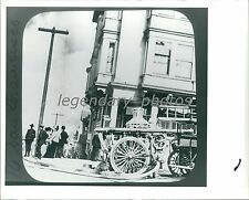 Early Fire Truck in San Francisco Smoke in Background Original Photo