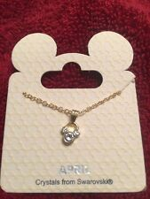 Disney Mickey Mouse Gold Tone April Diamond Birthstone Swarovski Necklace