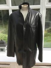 Kenneth Cole Mens Black Leather Jacket Coat Size M/L Chest 44