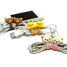 Pair Animal Earphone Headphone Wrap Cord Wire Cable Holder Winder Organizer