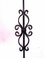 "38"" SOLID IRON DOUBLE DIAMOND SCROLL W/ TWIST BALUSTER STAIR RAIL BLACK *NEW*"