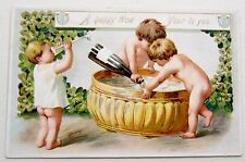 BABIES Make Champagne Punch for NEW YEAR Tuck Postcard EMB Gold