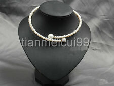 7-8mm freshwater Cultured pearl white South Sea 12-14mm shell pearl collar neckl