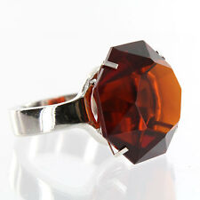 Giant Amber Diamond Ring -  Glass w/ Silver Band - Napkin Ring