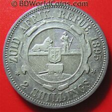 SOUTH AFRICA 1895 2 SHILLINGS SILVER KEY DATE! RARE ZUID  AFRICAN WORLD COIN