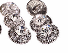 DB13-15s 10pcs Diamante Faceted Crystal Buttons Diamante Silver Rhinestone
