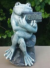 Fiberglass/Latex Concrete Mold- Frog with Welcome Sign