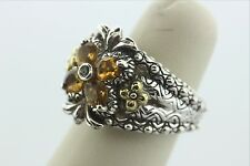 Barbara Bixby Sterling & 18K Jezzabel Flower Ring Citrine Ring  Size 6