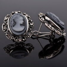 Great Gray Cameo Acrylic Beauty Gift Crystal Gemstone Stud Pierced Earrings