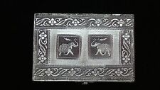 Jewelry Box Medium 2 Elephant Antique India Floral Stamped Metal Vintage New