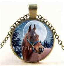 Vintage Winter Horse Photo Cabochon Glass Bronze Chain Pendant Necklace