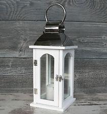 Laterne Holz Metall Glas Windlicht 35cm Hochzeit Holzlaterne weiß chrom silber