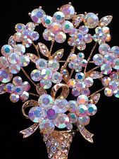 AB CLEAR RHINESTONE MOTHERS DAY EASTER FLOWER BASKET VASE PIN BROOCH JEWELRY 2.5
