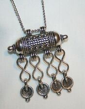 Lovely East Indian Etched Tube Dangle Pendant Necklace